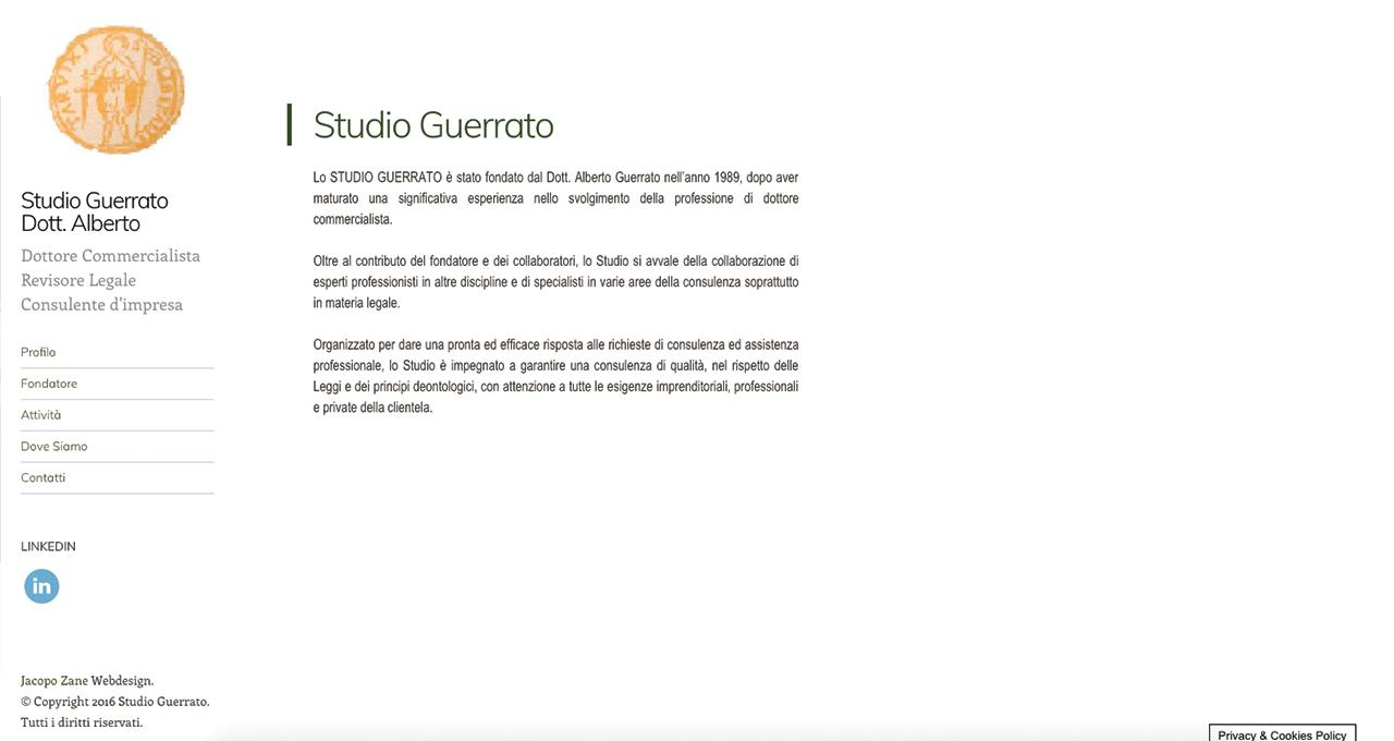 Sito Web Studio Guerrato - Jacopo Zane Web Designer - Treviso - Portfolio