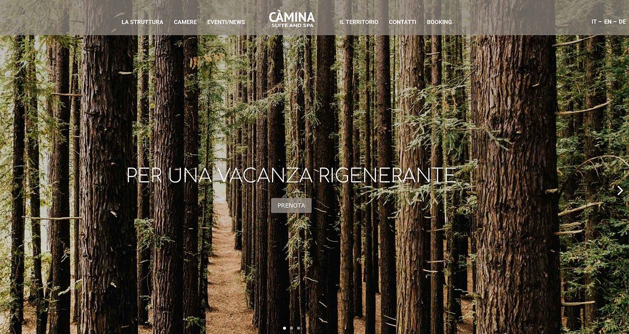Sito Web Càmina Cortina Hotel - Jacopo Zane Web Designer - Treviso